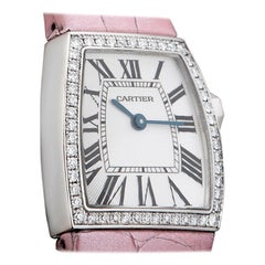 Cartier La Dona Ladies White Gold Silver Guilloche Dial Diamond Set B&P WE600351