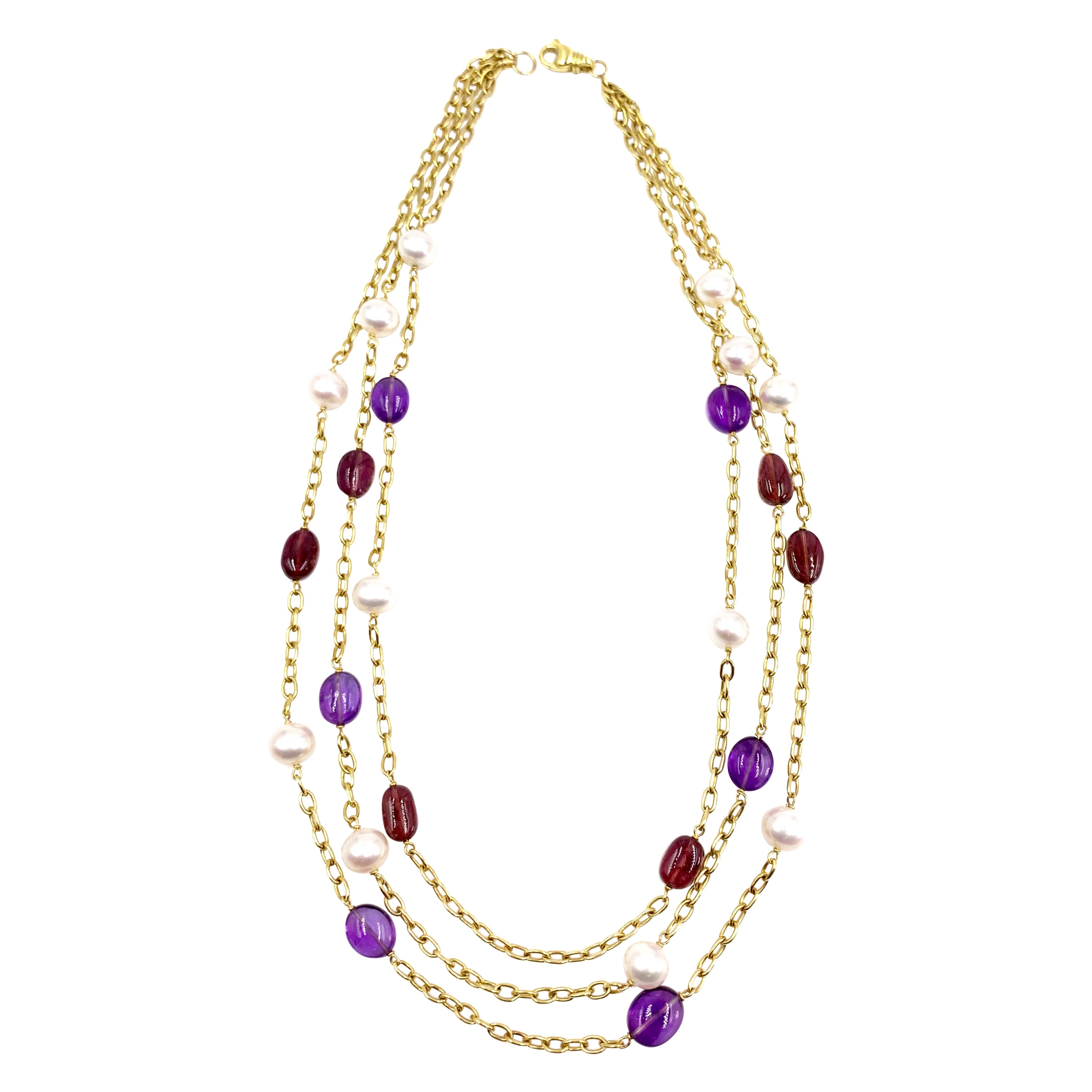 18 Karat Gold Three-Strand Pearl, Amethyst and Tourmaline Necklace