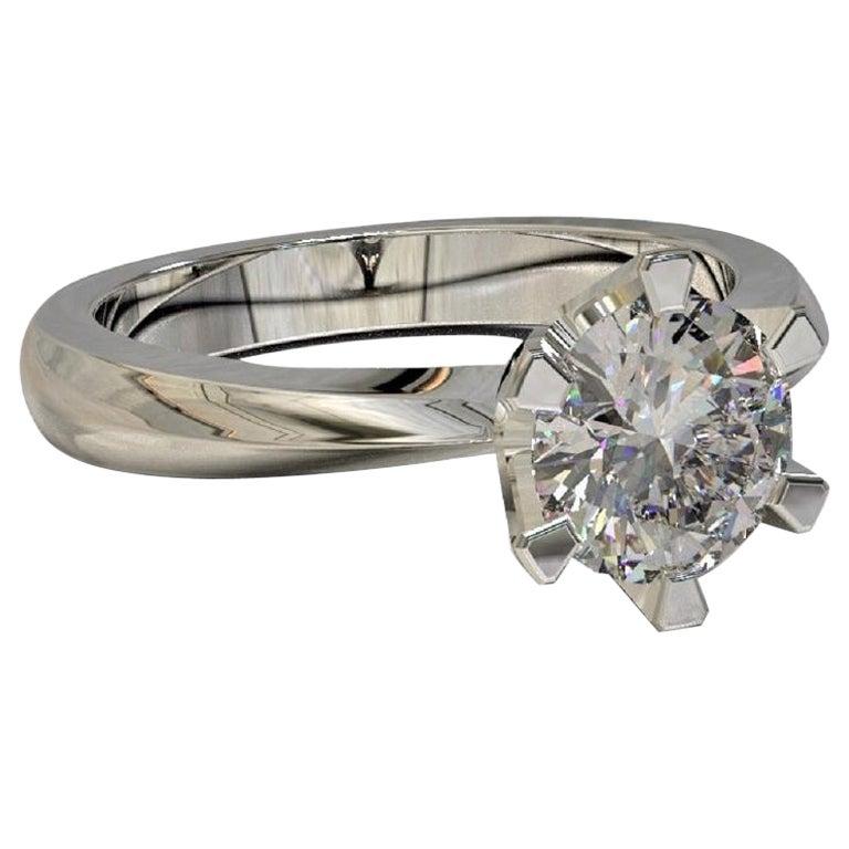 Kian Design Platinum 0.50 Carat GIA Round Brilliant Cut Diamond Engagement Ring