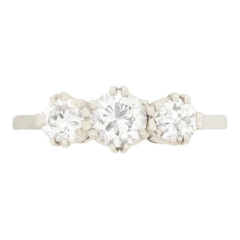 Late Art Deco 1.00 Carat Diamond Three-Stone Ring, circa 1940s