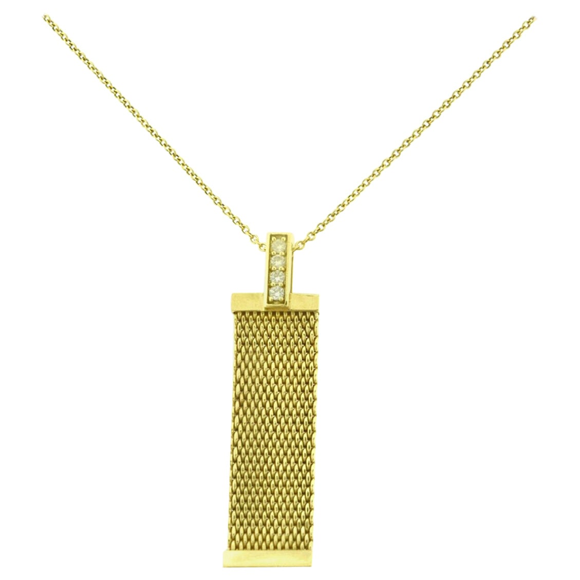 Tiffany & Co. Diamond Somerset Mesh Long Pendant Necklace in Yellow Gold