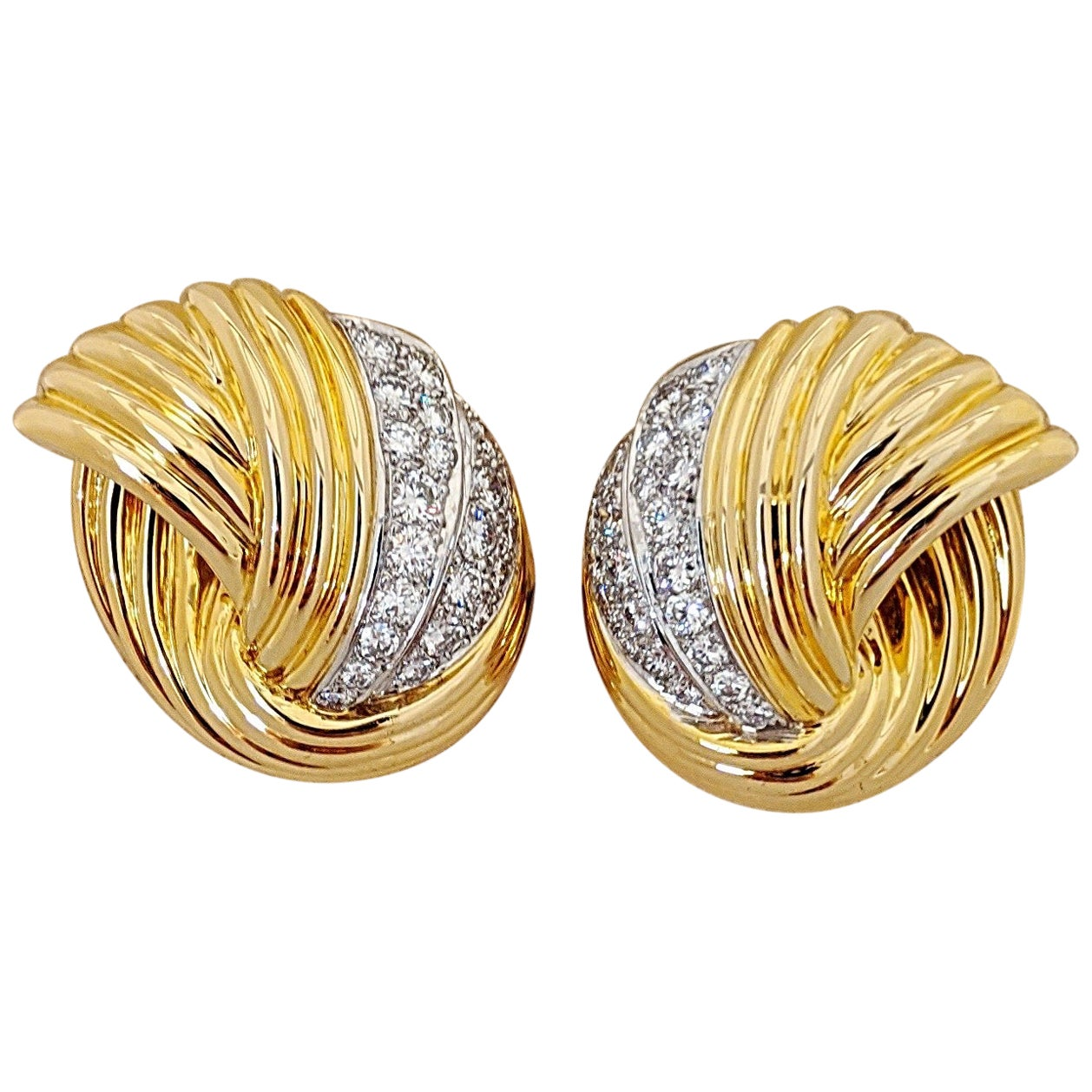 Cellini Jewelers 18 KT Y/W Gold, 2.24 CT Vintage Collectible Dia.Swirl Earrings