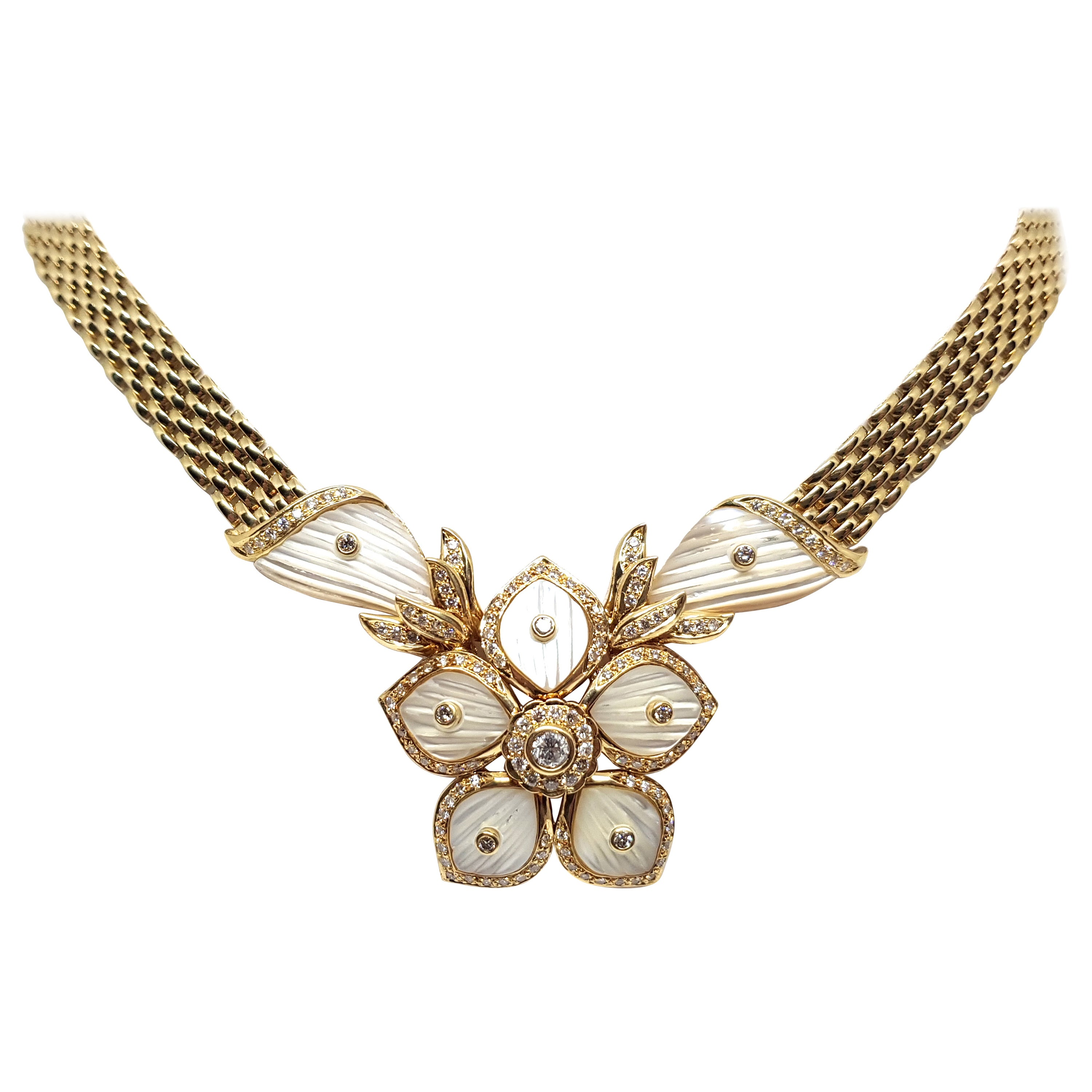 2.96 Carat Yellow Gold Diamond Mother of Pearl Necklace