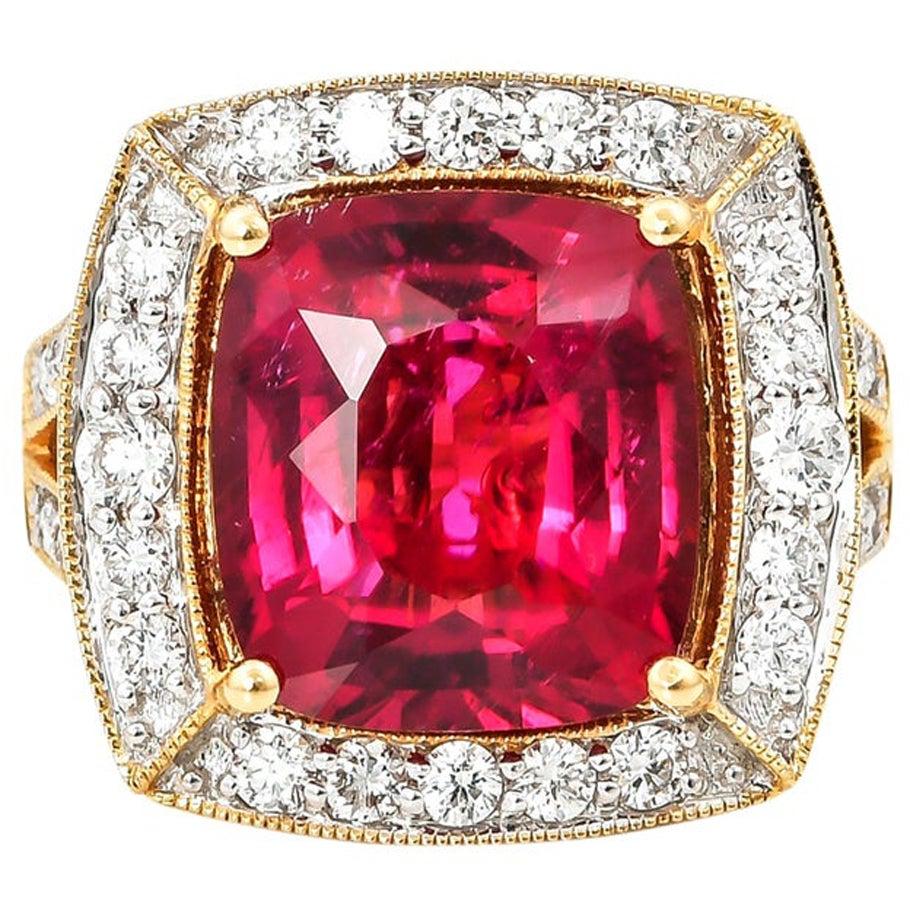 6.77 Carat Cushion Shaped Rubelite Ring in 18 Karat Yellow Gold with Diamonds