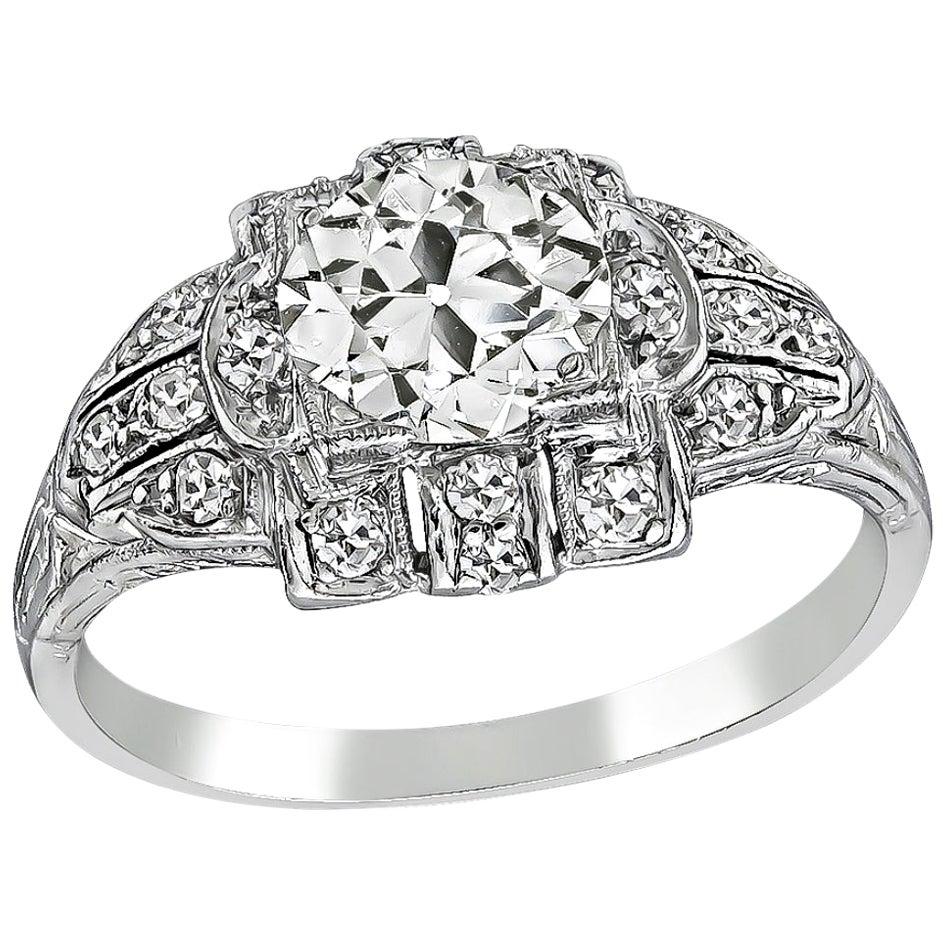 Vintage GIA Certified 1.02 Carat Diamond Platinum Engagement Ring