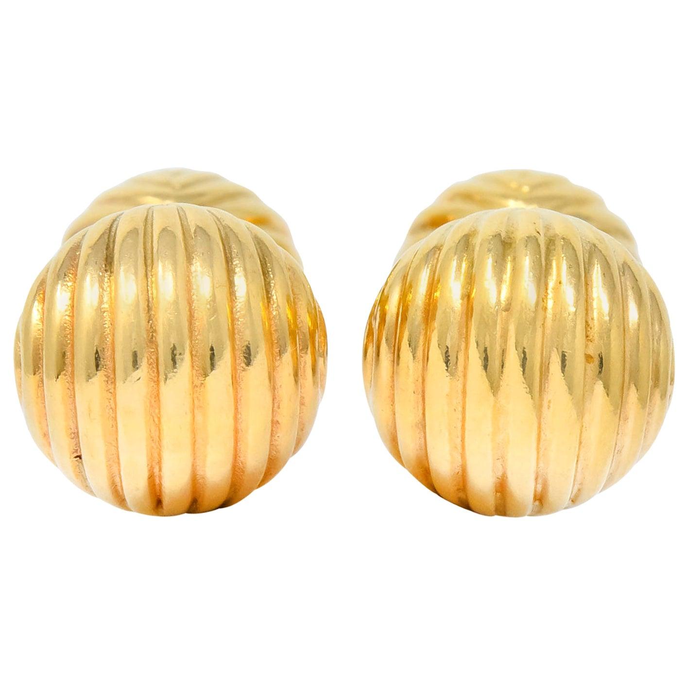 Tiffany & Co. 1960s Vintage 14 Karat Gold Ridged Ball Men's Cufflinks