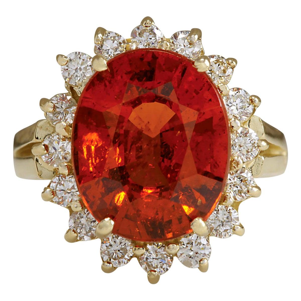 6.96 Carat Natural Mandarin Garnet 18 Karat Yellow Gold Diamond Ring