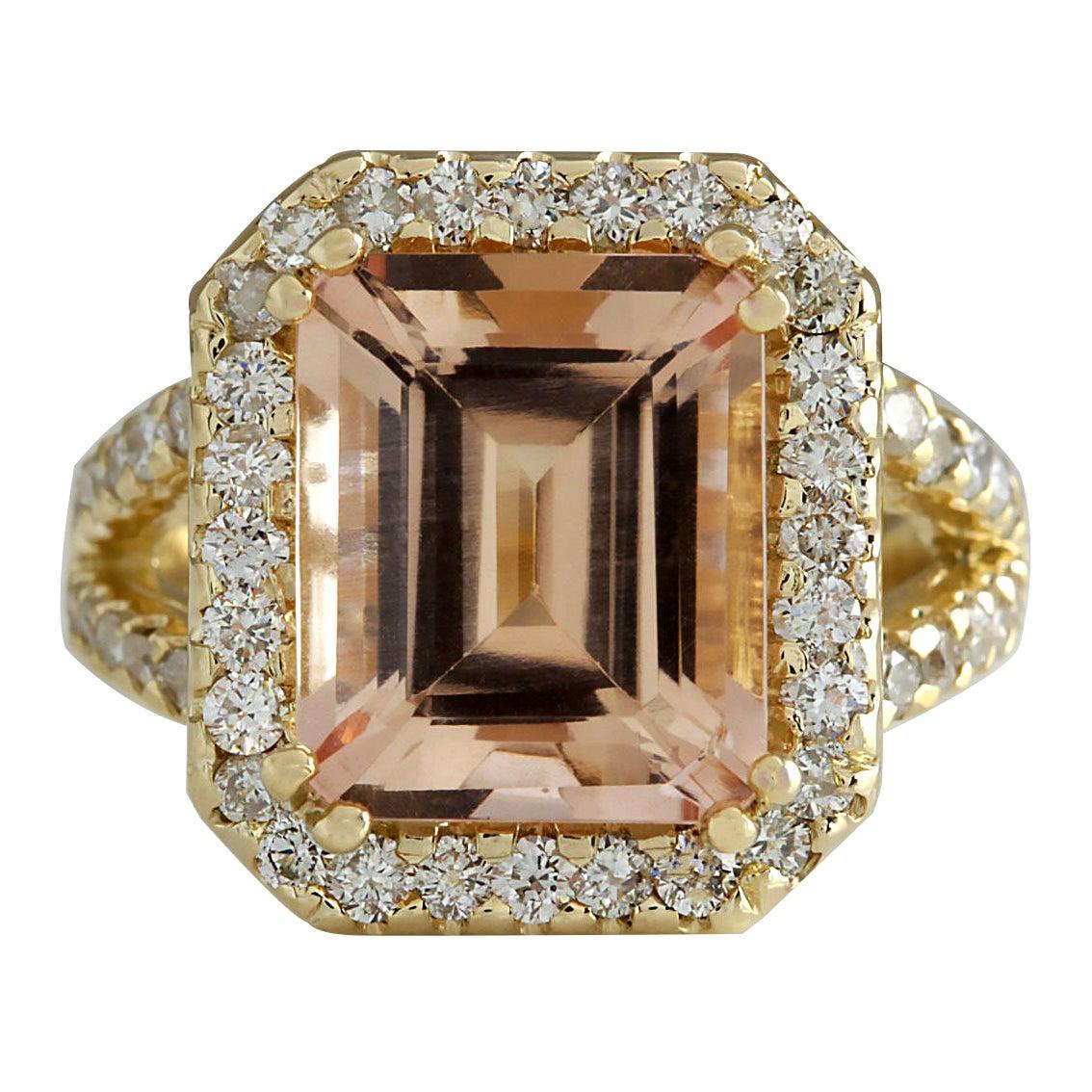 6.92 Carat Natural Morganite 18 Karat Yellow Gold Diamond Ring