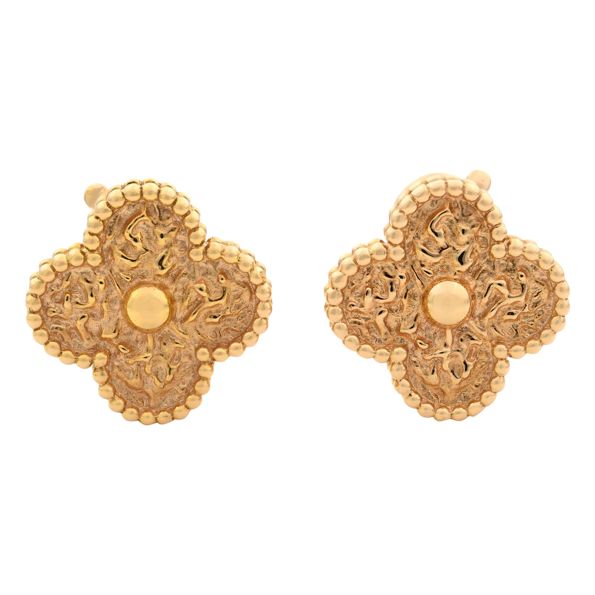 Van Cleef & Arpels 18 Karat Rose Gold Magic Alhambra Clip Earrings