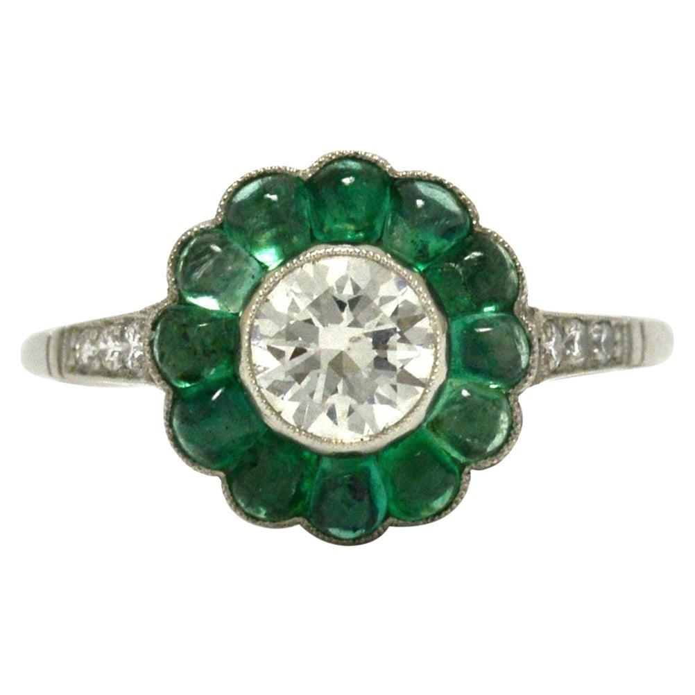Antique Revival Old European Diamond Emerald Engagement Ring Flower Platinum