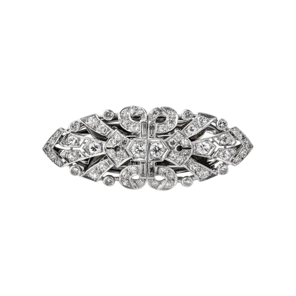 Platinum Diamond Double Clip, circa 1940