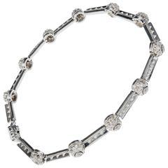Tacori Diamond Platinum Diamond .90ct Bead Set Hinged Link Bracelet