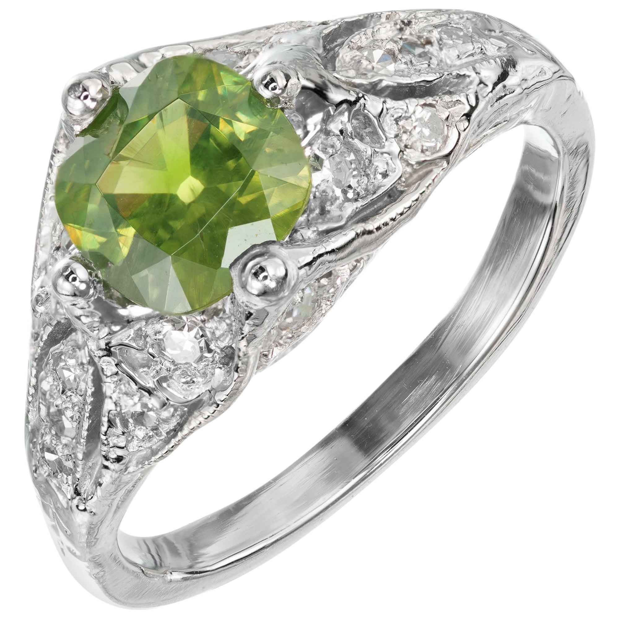 1.04 Carat Green Russ Demantoid Garnet Diamond Platinum Art Deco Engagement Ring