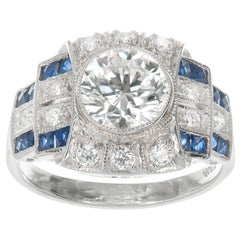 GIA Certified 2.12 Carat Diamond Sapphire Platinum Art Deco Engagement Ring