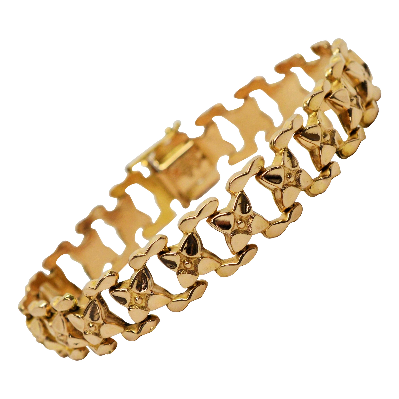 Italian Floral Link 18 Karat Yellow Gold Bracelet