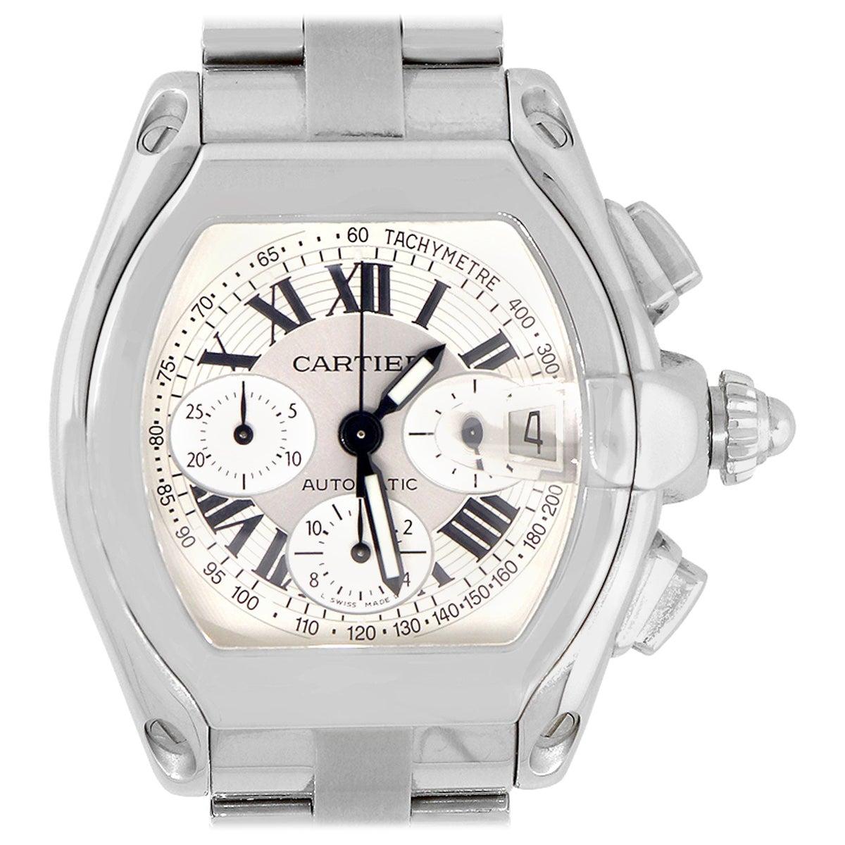 Cartier Roadster XL Silver Chronograph Dial Watch