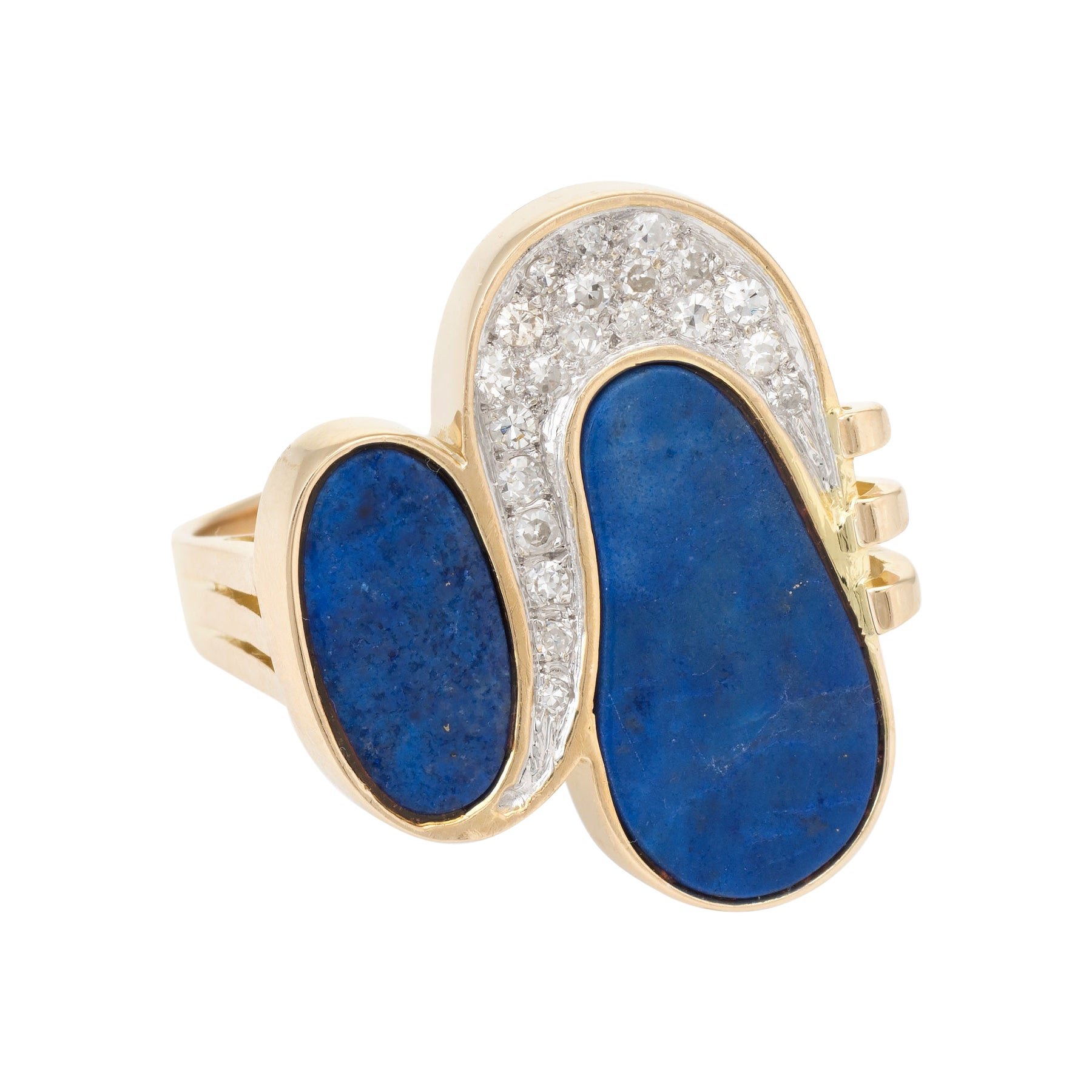 1970s Lapis Lazuli Diamond Cocktail Ring Vintage 14 Karat Gold Estate Jewelry