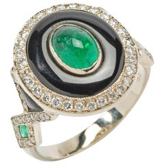 Emerald Onyx Diamond Gold Ring