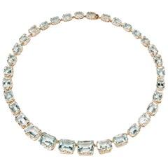 Aquamarine 14 Carat Gold Necklace