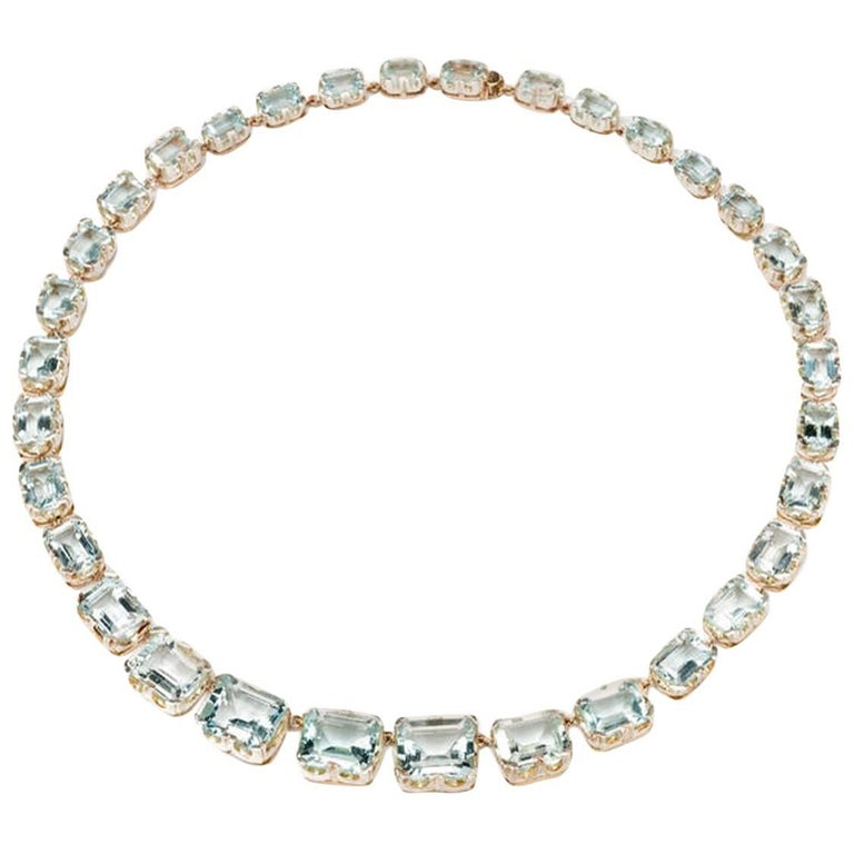 Aquamarine 14 Carat Gold Necklace