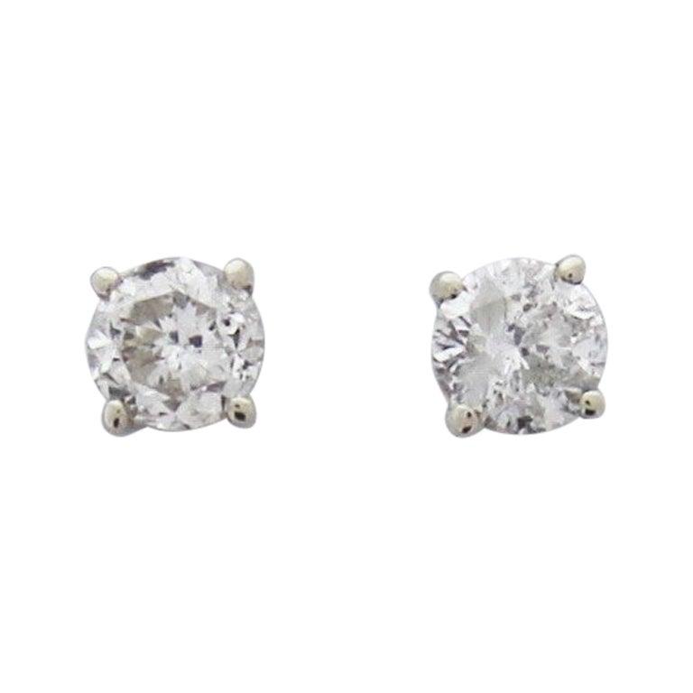 0.59 Carat Total Diamond Stud Earrings in 14 Karat White Gold