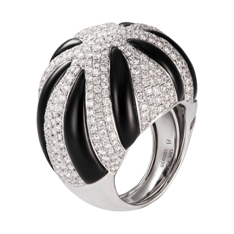 12.31 Carat Black Onyx Diamond 18 Karat White Gold Bombe Dome Cocktail Ring
