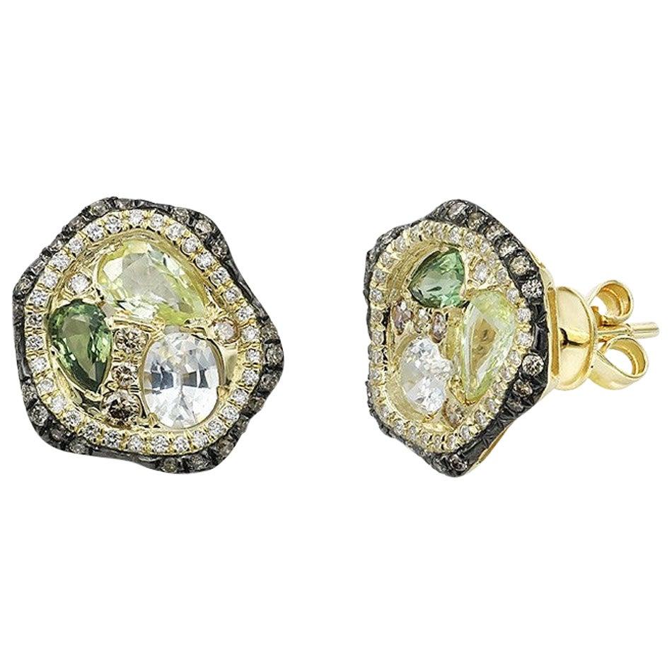 Fashion Green Sapphire Diamond Yellow Gold Earrings