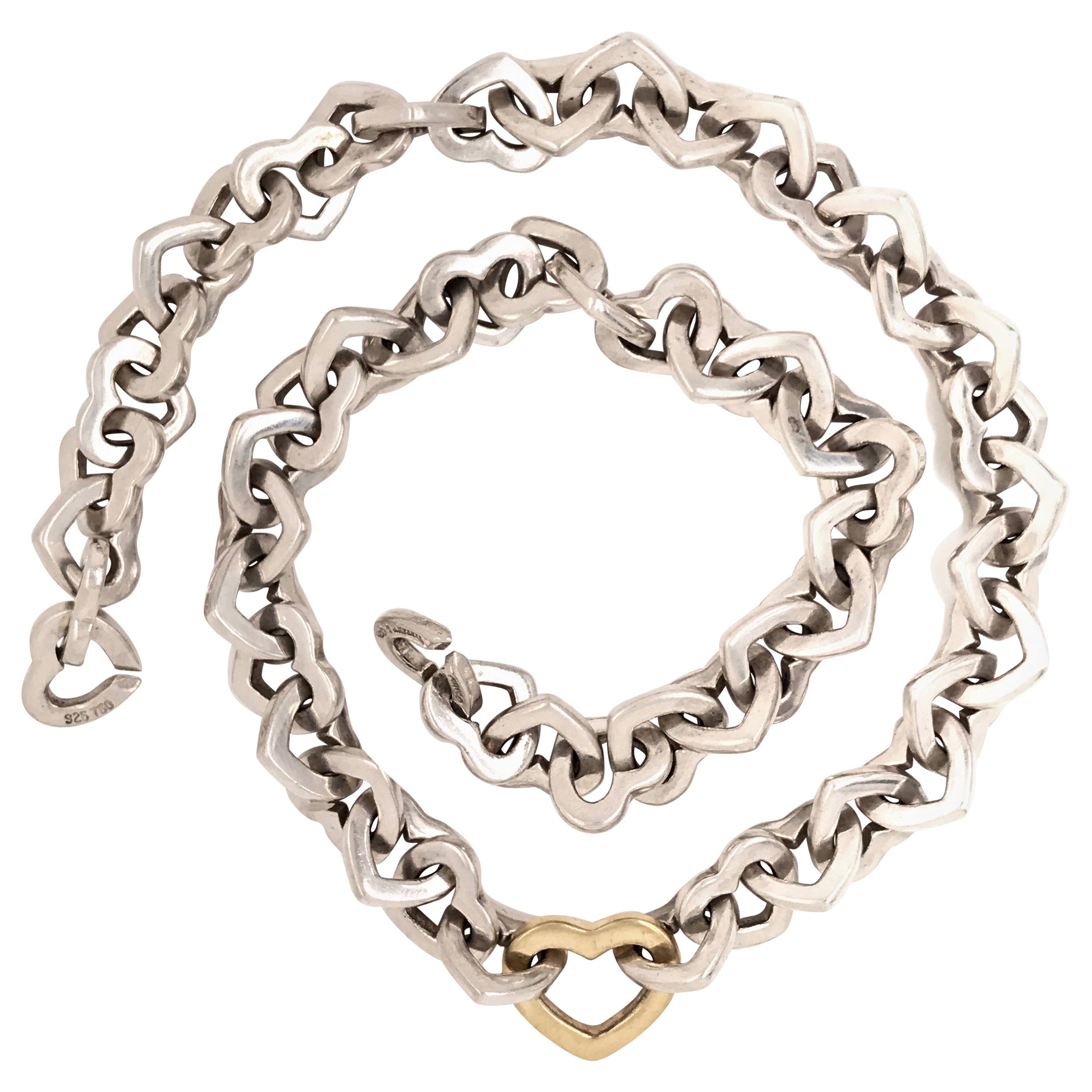 Tiffany & Co. Heart Link Sterling Silver and 18 Karat Gold Necklace, 2000