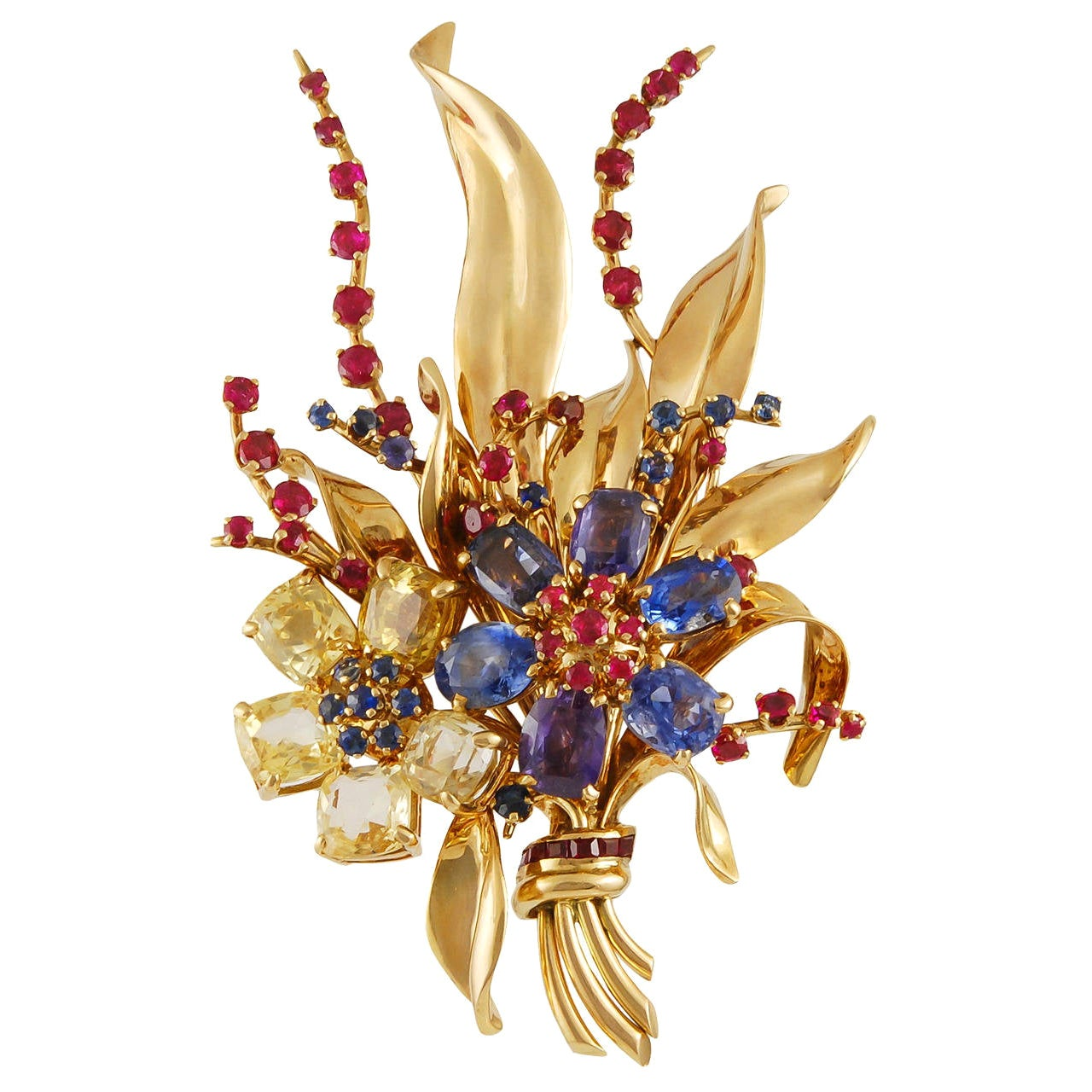 Van Cleef & Arpels Sapphire Ruby Yellow Gold Flower Brooch