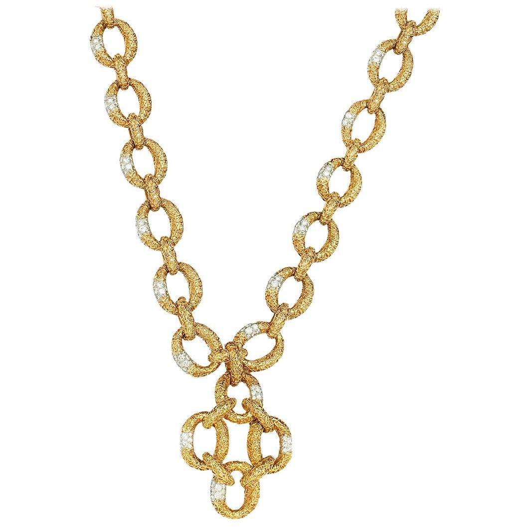 Van Cleef & Arpels Diamond Yellow Gold Necklace-Bracelet