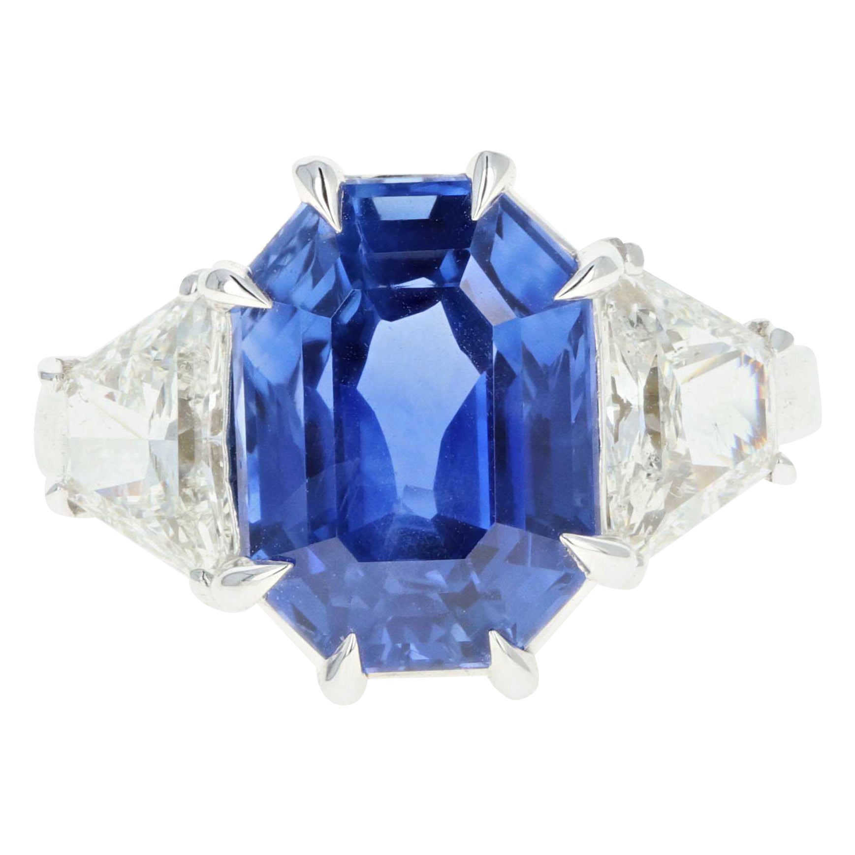 Platinum 10.69 Carat No Heat Ceylon Sapphire and Diamond Ring