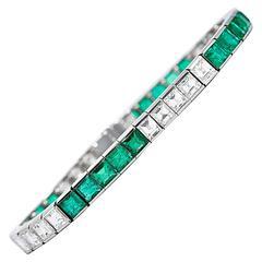 Colombian Square Cut Emerald Diamond Platinum Tennis Bracelet