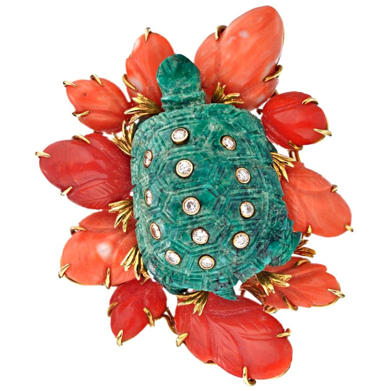 David Webb Gold Sea Turtle Diamond Turquoise and Coral 18 Karat Brooch Pin