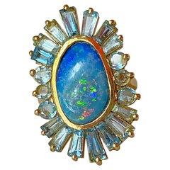 Boulder Opal, Aquamarine, 18kt Gold Cocktail Ring by Lauren Harper