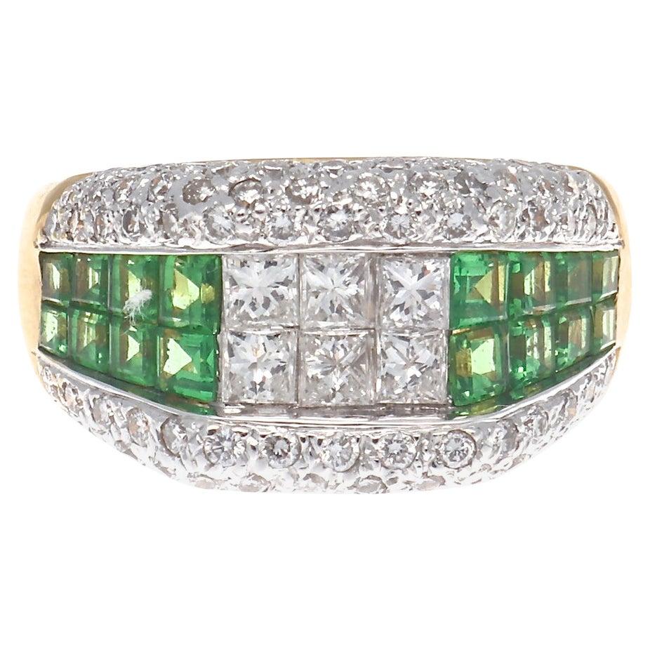 Diamond Demantoid Garnet 18 Karat Ring