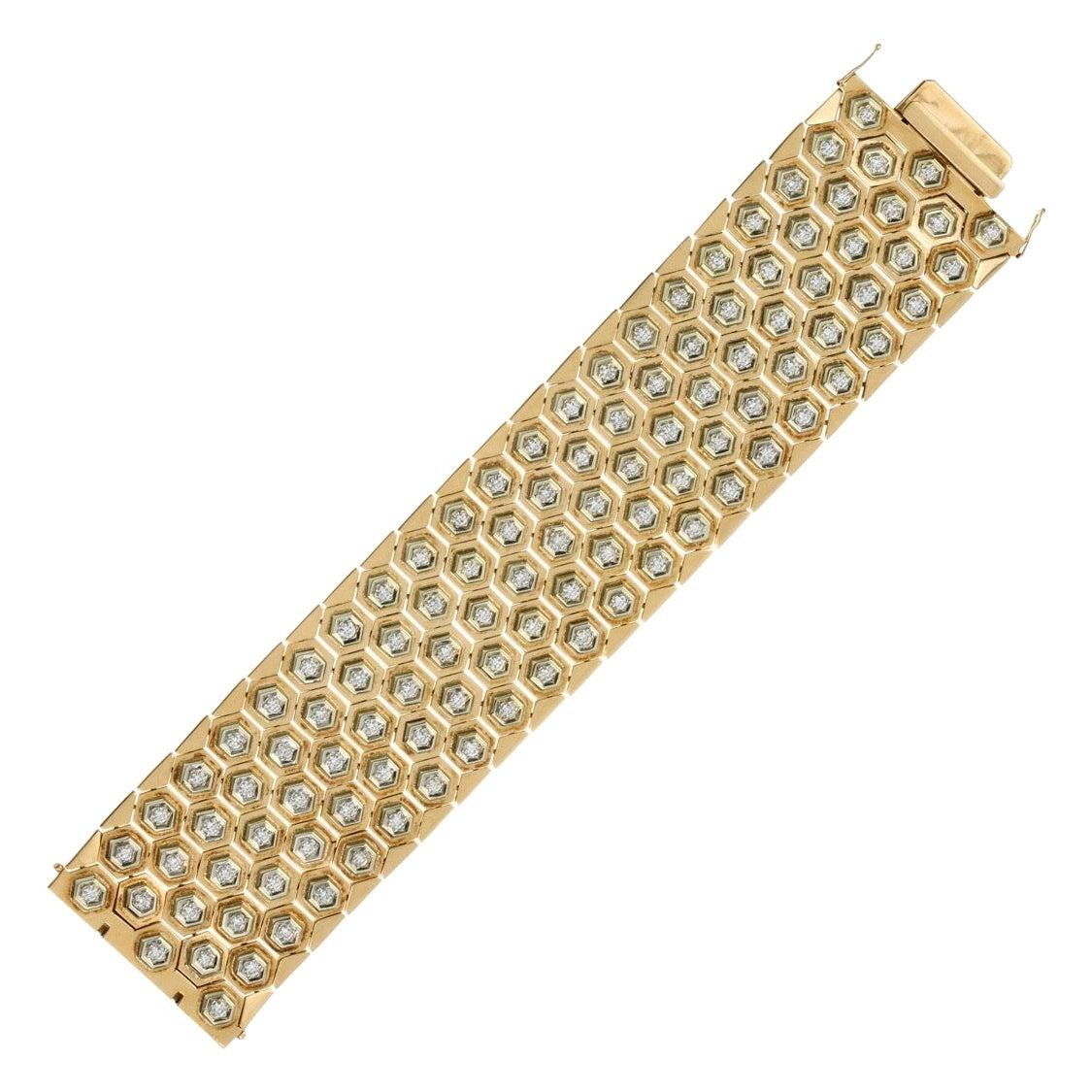15 Carat Diamond Fancy Link Bracelet in 18 Karat Yellow Gold Hexagonal Links