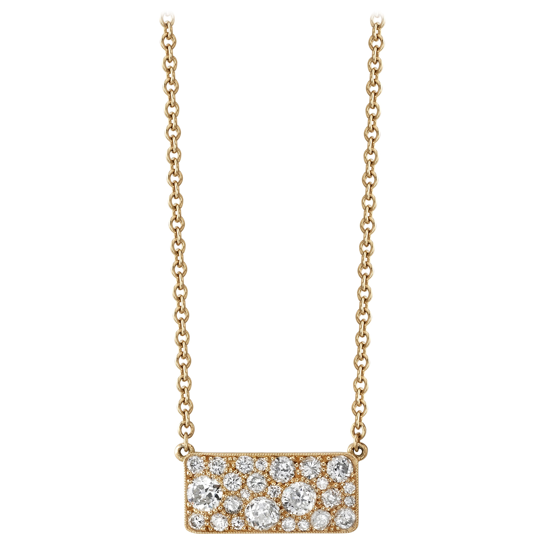 Handcrafted Yellow Gold Cobblestone Diamond Pendant Necklace