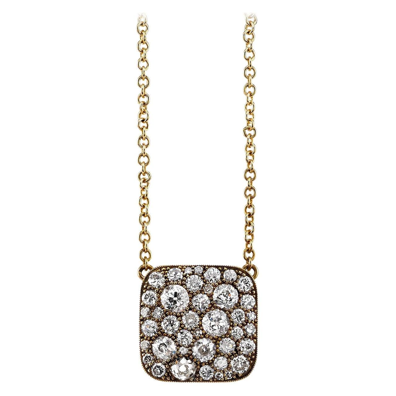 Handcrafted Yellow Gold Cobblestone Square Diamond Necklace