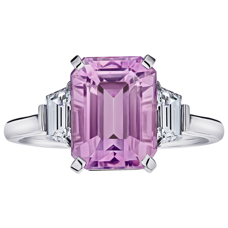 5.70 Carat Emerald Cut Pink Sapphire and Diamond Ring