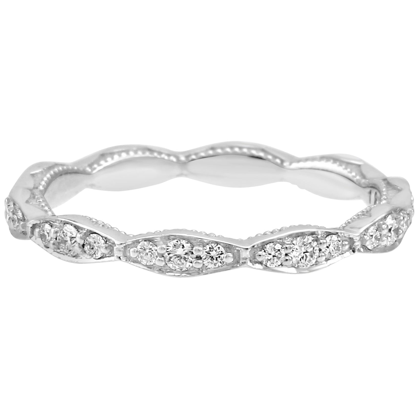 White Diamond Round 18 Karat White Gold Engagement Fashion Eternity Band Ring