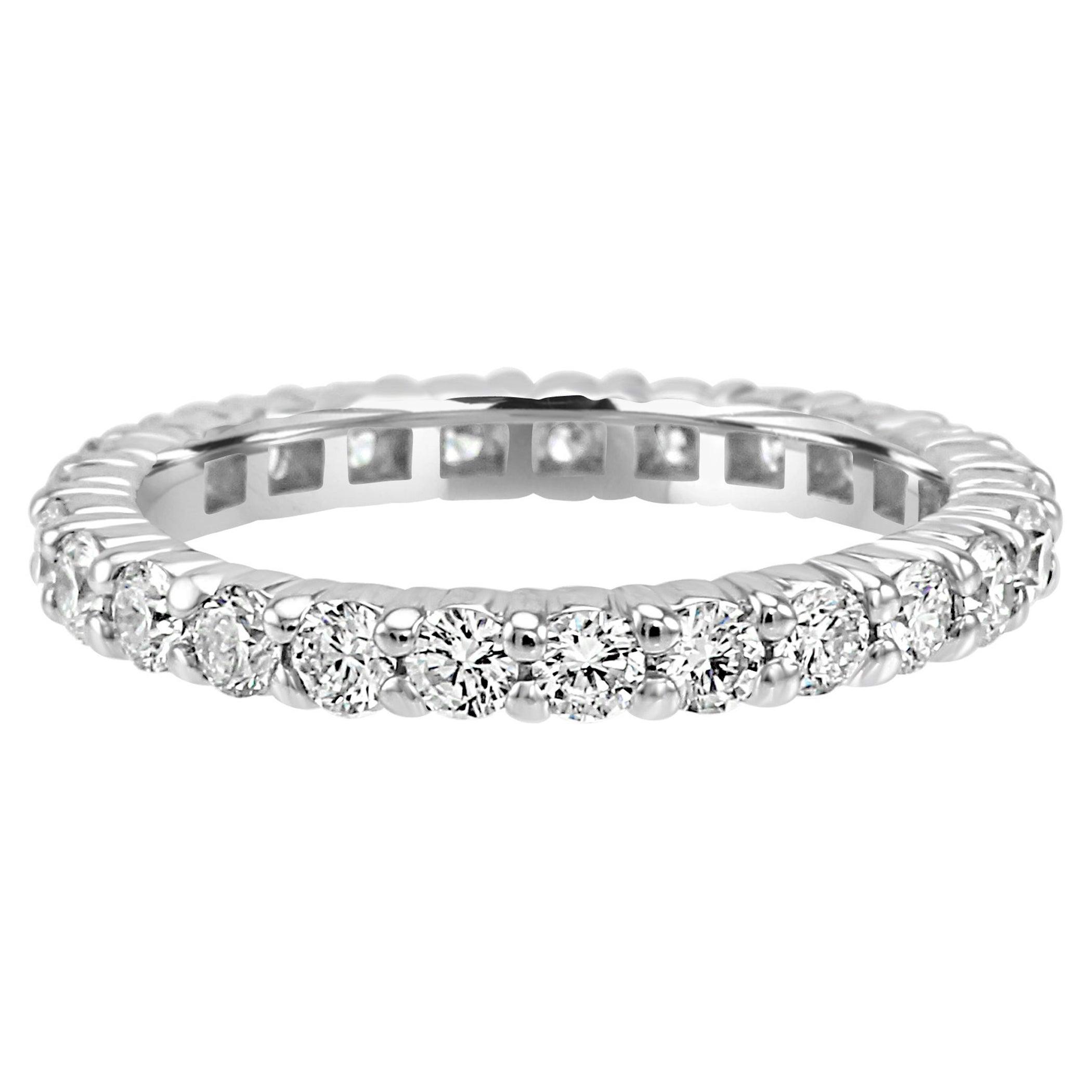 White Round Diamond Platinum Eternity Band Ring
