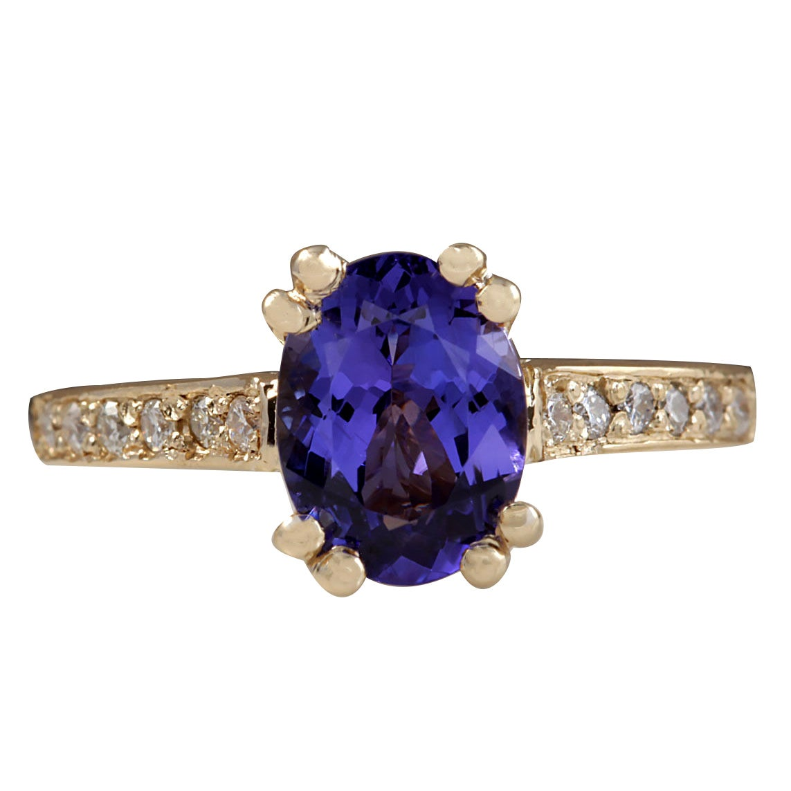 1.96 Carat Natural Tanzanite 18 Karat Yellow Gold Diamond Ring