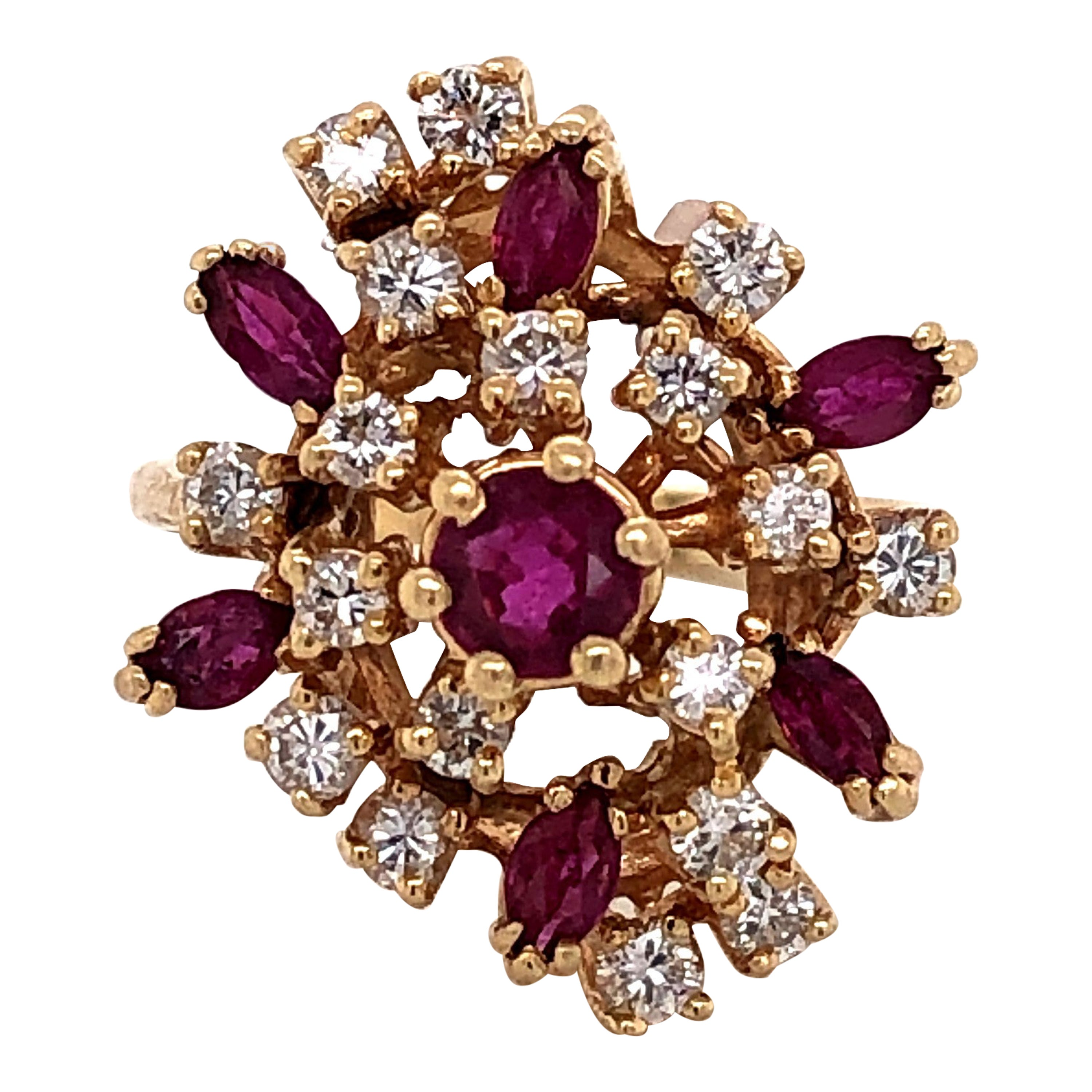 Ruby Diamond Cluster Cocktail Ring