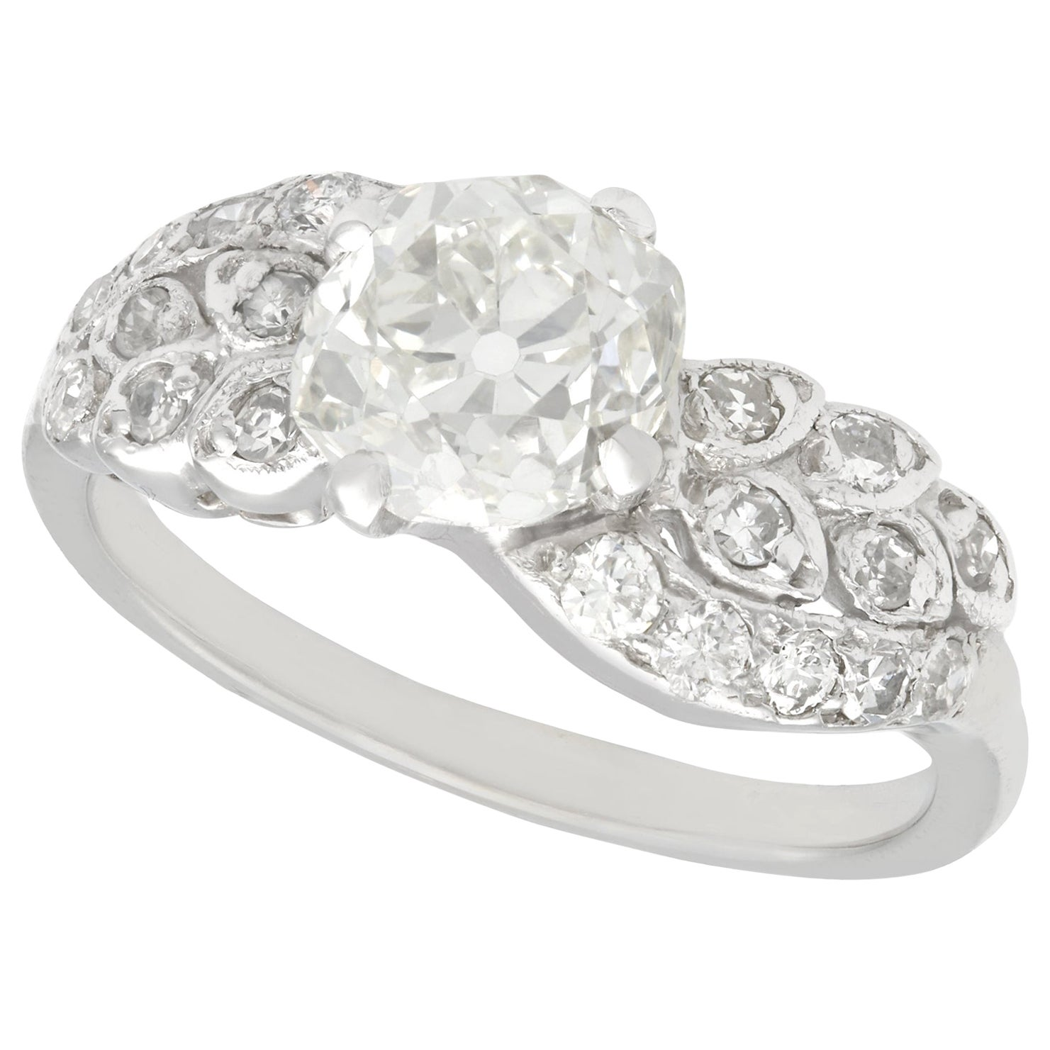 2.70 Carat Diamond White Gold Platinum Set Twist Ring