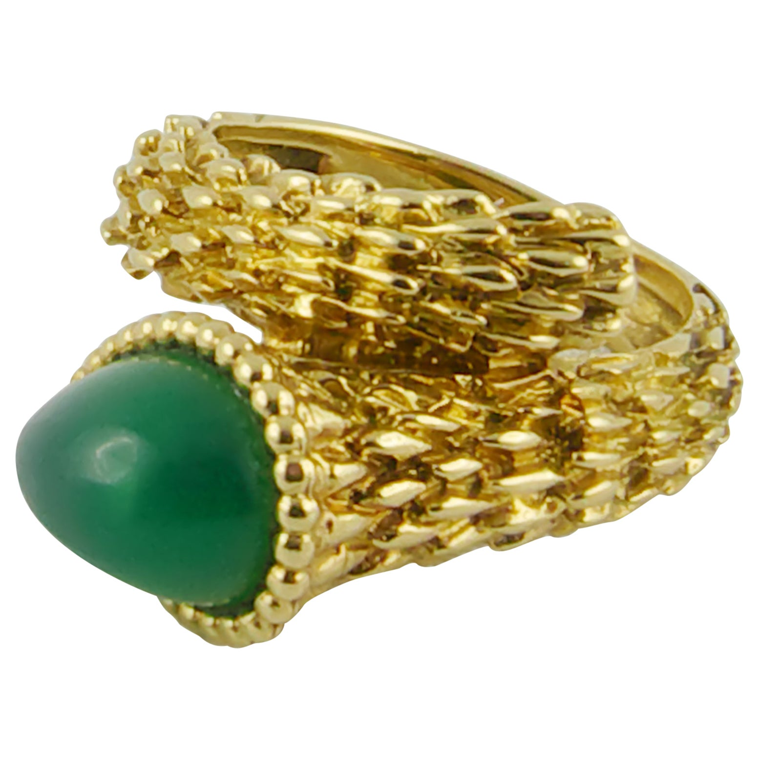 1970s Boucheron Serpent Bohème Ring S Motif in Yellow Gold and Chrysophrase