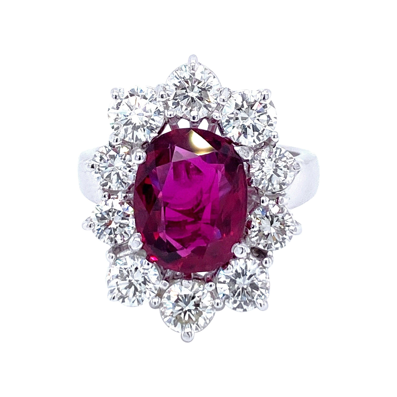 SSEF Certified 3.80 Carat Ruby Diamond Gold Ring