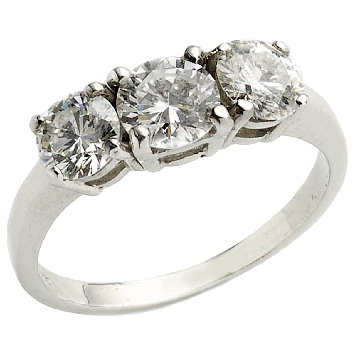 1.60 Carat Diamond Platinum Three-Stone Ring