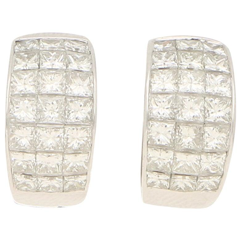 Princess Cut Diamond Huggie Hoop Earrings Set in 18k White Gold