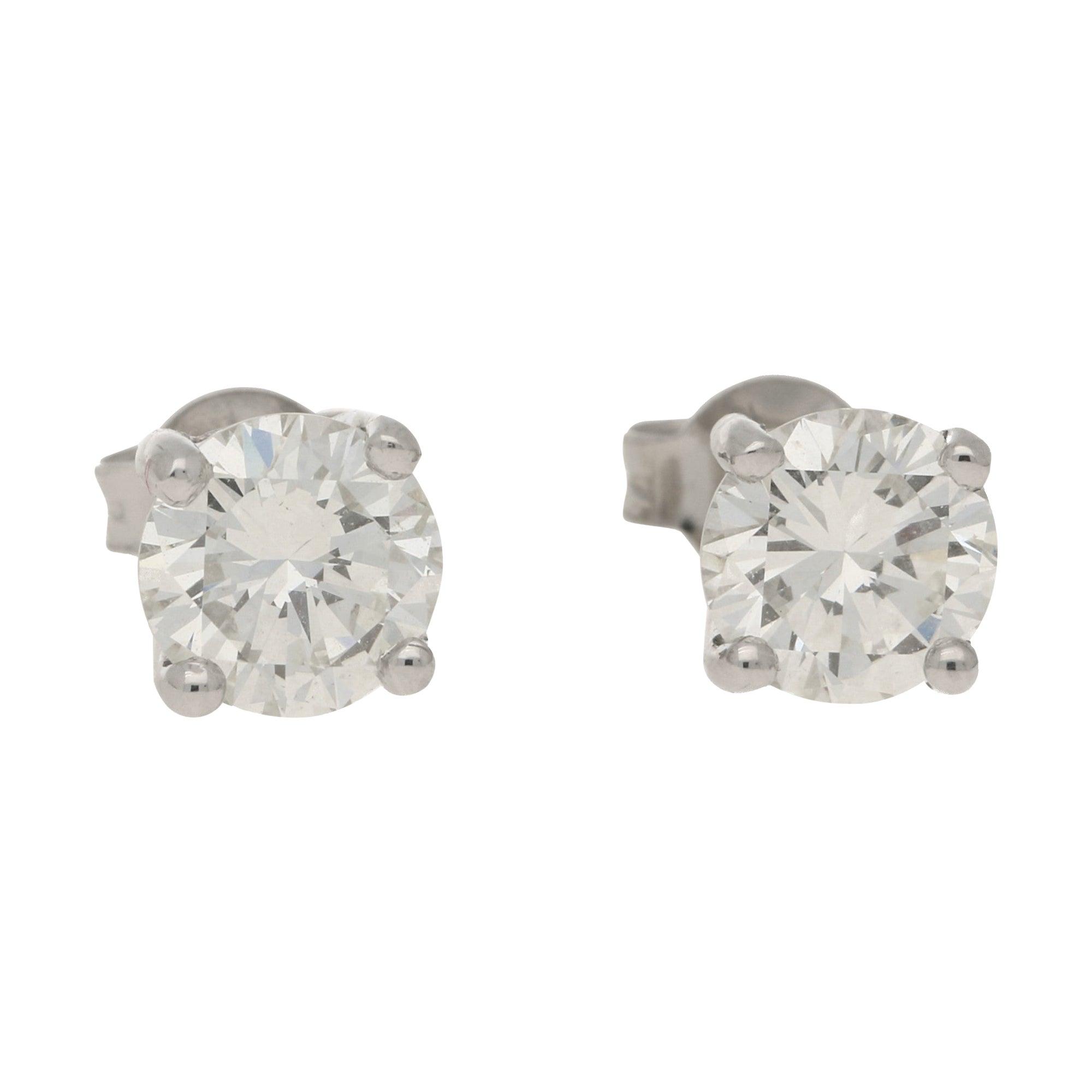 Diamond Stud Earrings Set in 18k White Gold 2.46 Carat