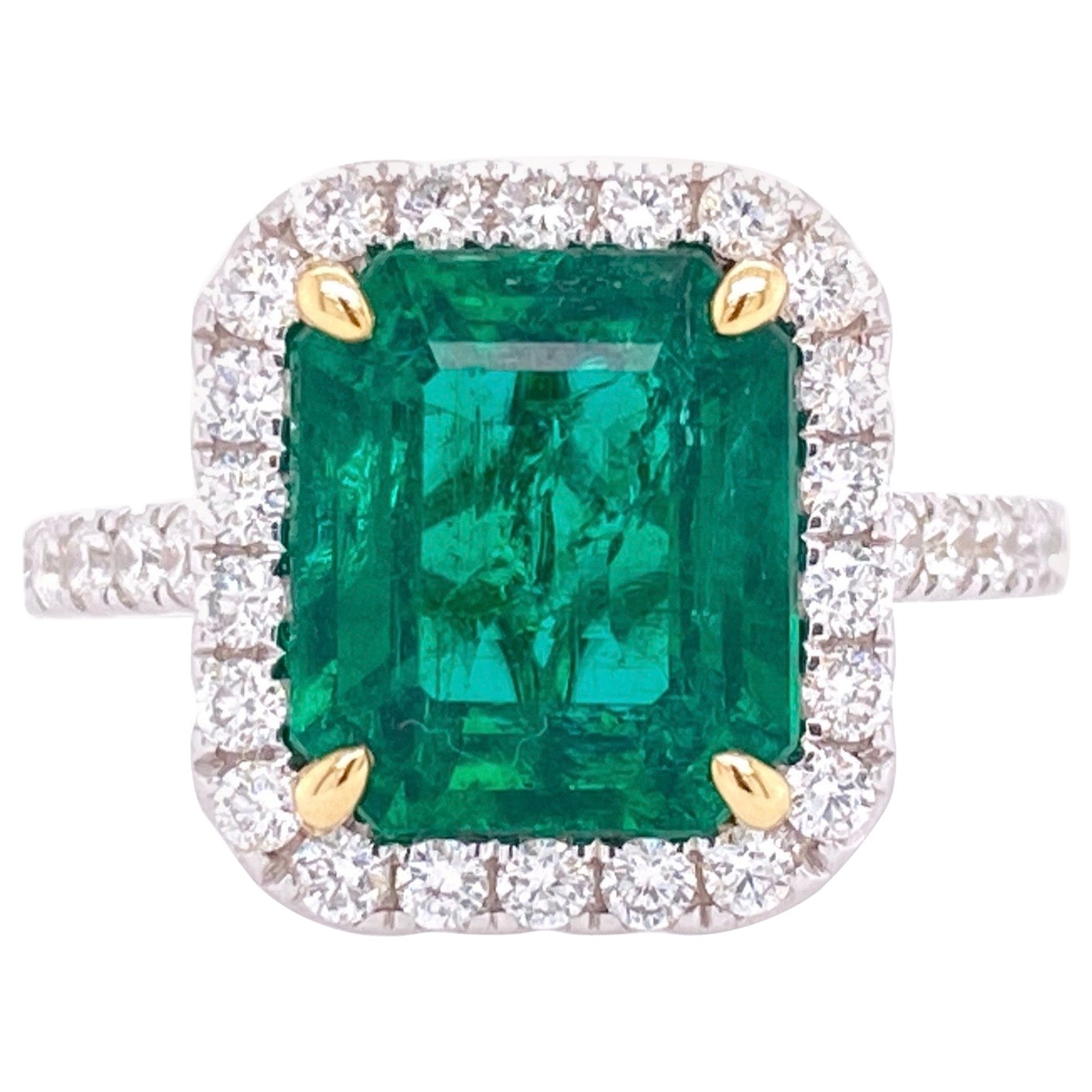 GIA Certified 3.80 Carat Emerald and Diamond Ring